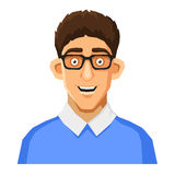 Cartoon Style Portrait of Nerd with Glasses and. Portrait of Nerd with Glasses and Blue Pullover. Vector illustration Royalty Free Stock Photo