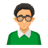Cartoon Style Portrait of Nerd with Glasses and Stock Photo