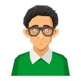 Cartoon Style Portrait of Nerd with Glasses and. Portrait of Nerd with Glasses and Green Pullover. Vector illustration Stock Photo