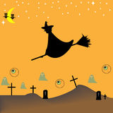 Cartoon-style representation of a Halloween night Stock Photos