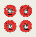 Cartoon style retro alarm clock icons. Colorful alarm clock icons on stiched circles stock illustration
