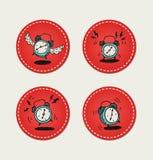 Cartoon style retro alarm clock icons. Retro alarm clock ringing in the morning icons set on stickers vector illustration