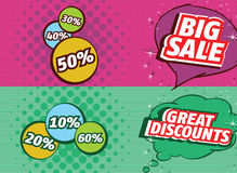 Cartoon Style Sale Banner Royalty Free Stock Photo