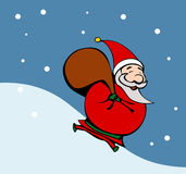 Cartoon style santa. Claus running Stock Images