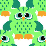 Cartoon style seamless owl  pattern  fir kids. Seamless vector pattern with cute colorful owls. Childish seamless pattern with owls Royalty Free Stock Photography