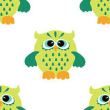 Cartoon style seamless owl  pattern  fir kids. Seamless vector pattern with cute colorful owls. Childish seamless pattern with owls Royalty Free Stock Image