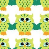 Cartoon style seamless owl  pattern  fir kids Stock Images
