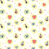 Cartoon style seamless pattern. Hand drawn icons repeating without seams. Camera, lipstick, cake, heart, love, diamond. In speech bubble. Girl dreams vector Royalty Free Stock Photo