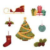 Cartoon style set of Christmas decorations Royalty Free Stock Image