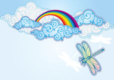 Cartoon style sky background. With rainbow and dragonfly Royalty Free Stock Images