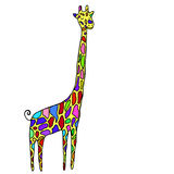 Cartoon style, small, funny animal, multicolored specks giraffe, Royalty Free Stock Images