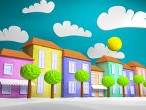 Cartoon style small town stock illustration