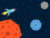 Cartoon style space background with rocket Stock Photography