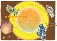 Cartoon style spacemen Stock Photo