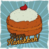 Cartoon Style Sufgania Poster for Hanukkah, Vector Illustration Stock Images