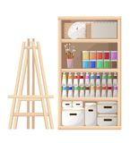 Cartoon style tools and materials for painting and creature sketchbook brushes easel palette and tube of paint  illustration. Isolated on white background Stock Image