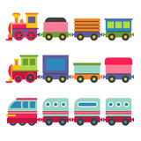 Cartoon Style Toy Railroad Train Set. Vector Stock Photography