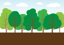Cartoon style trees Royalty Free Stock Photos