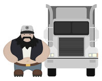 Cartoon style truck driver standing. No outline. Fat round flat cartoon style black beard truck driver. In trucker cap standing near big cargo car. Color no Royalty Free Stock Photography