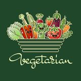 Cartoon style vegetables and handwritten word Vegetarian. Vector Vector Illustration