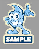 Cartoon style water drop, water character, vector logo Stock Images