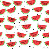 Cartoon style watermelon seamless pattern. Vector illustration Royalty Free Stock Photos