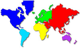 Cartoon style world map Stock Photography