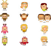 Cartoon style zodiacs Royalty Free Stock Photos