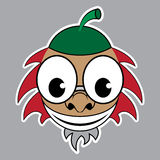 Cartoon - styled acorn with green cap and red hair. Cartoon sticker - brown acorn with green cap, red hair, beard and glasses on a gray background Royalty Free Stock Photography