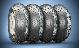 Cartoon-styled car wheels Stock Images
