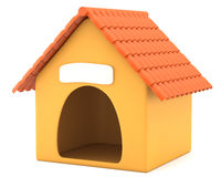 Cartoon styled doghouse. Isolated on white background. 3d illustration stock illustration