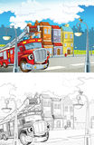 Cartoon styled machine coloring page Stock Photography