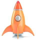Cartoon-styled rocket. Orange cartoon-styled rocket isolated on white background. 3d illustration royalty free illustration