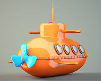 Cartoon-styled submarine Stock Image