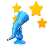 Cartoon-styled telescope with stars Stock Photography