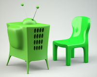 Cartoon-styled tv with chair Stock Image