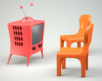 Cartoon-styled tv with two chair Royalty Free Stock Image