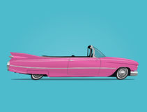 Cartoon styled vector illustration of the pink retro car cabriolet Royalty Free Stock Photos