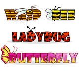 Cartoon stylised text insects. Name bee, Butterfly and ladybug Stock Images