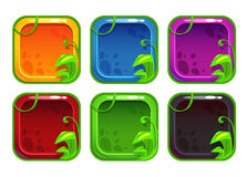 Cartoon stylized app icons with nature elements Royalty Free Stock Photos