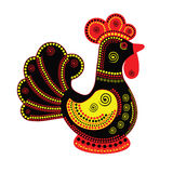 Cartoon stylized rooster. Chinese style with colorful ornament. Symbol 2017 Royalty Free Stock Photography