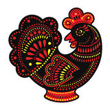 Cartoon stylized rooster Chinese style. With colorfull ornament. Symbol 2017 Stock Image
