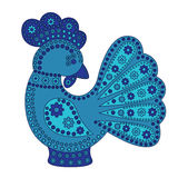 Cartoon stylized rooster. With colorful flowers ornament. Symbol 2017 Royalty Free Stock Photography