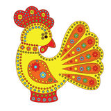 Cartoon stylized rooster. With colorfull flowers ornament. Symbol 2017 Stock Photo