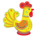 Cartoon stylized rooster. With colorfull ornament. Symbol 2017 Stock Photography
