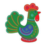 Cartoon stylized rooster. With colorfull ornament. Symbol 2017 Stock Photo
