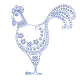 Cartoon stylized rooster. Ornament in Gzhel style. Symbol 2017 Stock Image