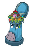 Cartoon Stylized Trash Can full of Garbage. Royalty Free Stock Photo
