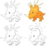 Cartoon styracosaurus. Vector illustration. Coloring and dot to Stock Image