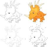 Cartoon styracosaurus. Vector illustration. Dot to dot game  Stock Photo